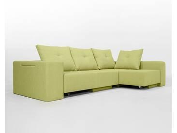 Modulsofa Set BonBon2 L Doppelbett-Funktion, Erweiterbar, flexibel zu stellen GrasGrüner Velourstoff. Lehnen mit Stauraum