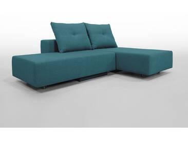 Modulsofa Set BonBon2 S Doppelbett-Funktion, Erweiterbar, flexibel zu stellen, Topaktueller tuerkisblauer Webstoff. Schlafsofa für 2 Personen