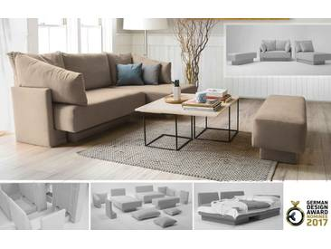 Minisofa mit Schlaffunktion, Gästebett, flexibel zu stellen, beige creme – FEYDOM CHOICE 1