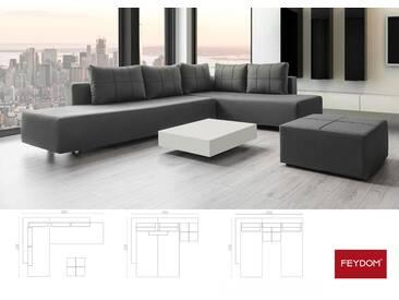 Gemini A Ecksofa Schlafsofa Doppelbett, Webstoff dunkles grau, Verwandlungssofa mit Liegeflächen 200x160cm oder 2x 200x80cm