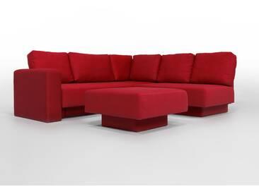 CHOICE 16 Modulsofa-System, max 237cm x 215 Rot, moderner Webstoff, als Schlafsofa, 2er Sofa, Recamiere, Erweiterbar, Schlafsofa, Day-Bed, Ausgezeichnet mit dem German Design Award