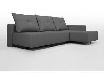 Modulsofa Set BonBon2 M Design-Sofa mit Doppelbett-Funktion, zeitloses dunkelgrau, Erweiterbar, flexibel zu stellen: Z.B.: als 2-Sitzer mit Recamiere oder als Ecksofa, Lehne mit mit Stauraum