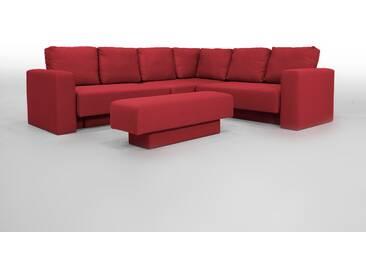 Modulares Ecksofa, Sitzecke mit Schlaffunktion, erweiterbar, rot – FEYDOM CHOICE 5