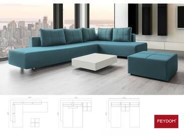 Ecksofa mit Schlaffunktion Webstoff, tuerkis blau petrol, Wohnlandschaft mit Liegeflächen 200x160cm oder 2x 200x80cm