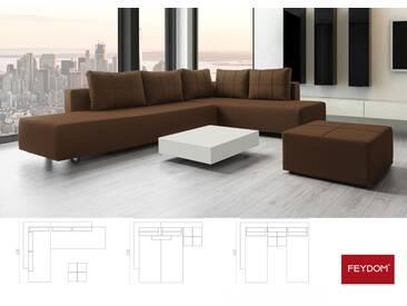 Gemini A Ecksofa Schlafsofa Doppelbett, braun, Cordstoff, Gästebett mit Liegeflächen 200x160cm oder 2x 200x80cm