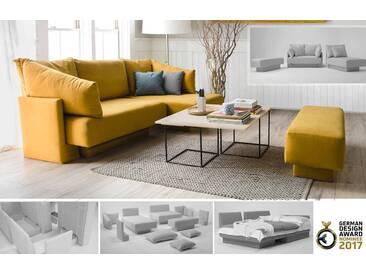 Modulares Sofa mit Schlaffunktion, flexibel zu stellen und erweiterbar, Webstoff gelb – FEYDOM CHOICE 1