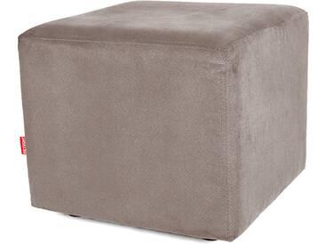 Sitzwürfel Hocker Würfelform mit Velourbezug mittelgrau grau - Höhe 38cm Breite circa 43cm Tiefe circa 43cm, gute Verarbeitung