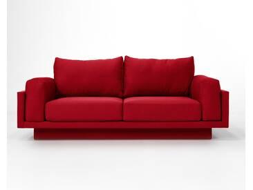 3-Sitzer-Sofa Schlafsofa Verwandlungssofa CLOUD-B rot edler Webstoff, schöner Strukturstoff, pflegeleicht, 214cm Gesamtbreite