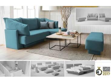 Kleines modulares Sofa mit Schlaffunktion und Recamiere, erweiterbar, Daybed, türkis petrol – FEYDOM CHOICE 1