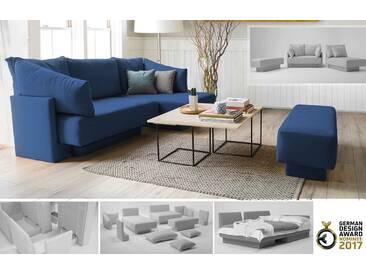 Modulsofa mit Schlaffunktion und Recamiere, erweiterbar, Daybed, dunkles blau – FEYDOM CHOICE 1