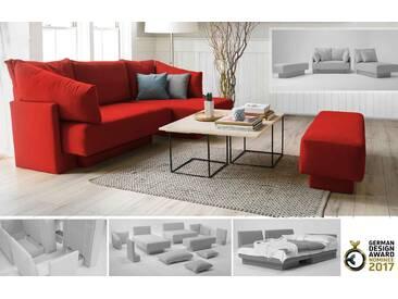 Ecksofa als Gästebett, flexibel zu stellen, Bettfunktion, rot – FEYDOM CHOICE 1