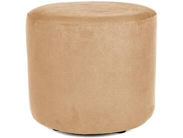 Sitzwürfel Hocker rund mit Velourbezug cappuccino beige - Höhe 38cm Durchmesser circa 43cm, gute Verarbeitung