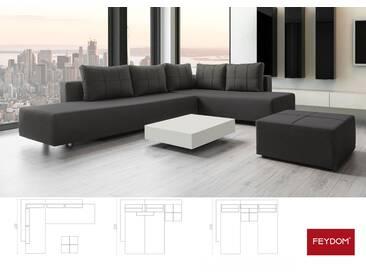 Schlafsofa Ecksofa Doppelbett grau dunkel, Verwandlungssofa mit Liegeflächen 200x160cm oder 2x 200x80cm