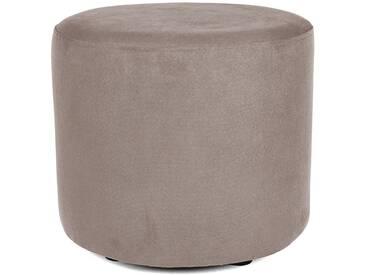 Sitzwürfel Hocker rund mit Velourbezug mittelgrau grau - Höhe 38cm Durchmesser circa 43cm, gute Verarbeitung, Beistellhocker