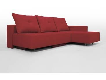Modulsofa Set BonBon2 M Design-Sofa mit Doppelbett-Funktion, rot, Erweiterbar, flexibel zu stellen: Z.B.: als 2-Sitzer mit Recamiere oder als Ecksofa, Lehne mit mit Stauraum