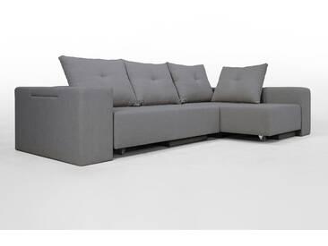 Modulsofa Set BonBon2 L Doppelbett-Funktion, Erweiterbar, flexibel zu stellen. Mittelgrau Webstoff Lehnen mit Stauraum