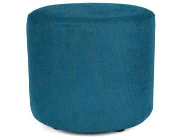 Sitzwürfel Hocker rund mit Webstoffbezug tuerkis blau - Höhe 38cm Durchmesser circa 43cm, gute Verarbeitung