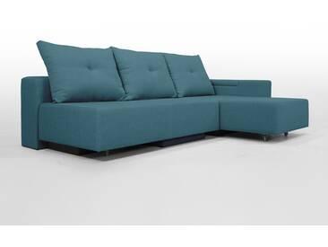 Modulsofa Set BonBon2 M Design-Sofa mit Doppelbett-Funktion, Türkis blau Webstoff, Erweiterbar, flexibel zu stellen: Z.B.: als 2-Sitzer mit Recamiere oder als Ecksofa, Lehne mit mit Stauraum