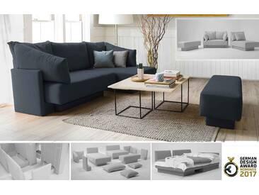 Schlafsofa für 1-2 Personen oder Daybed, Sitzgruppe, erweiterbar, modulares System, grau anthrazit – FEYDOM CHOICE 1