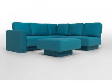 CHOICE 16 Modulsofa-System, max 237cm x 215 tuerkis, aktueller Webstoff, als Schlafsofa, 2er Sofa, Recamiere, Erweiterbar, Schlafsofa, Day-Bed, Ausgezeichnet mit dem German Design Award
