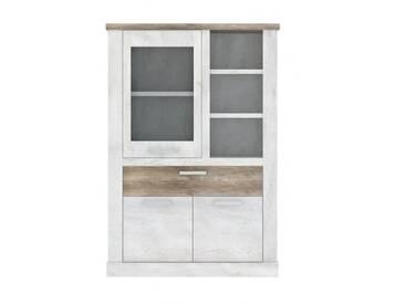 Highboard - Vitrine DURO, Schrank 1+2 Türen, Optik: Pinie weiß antik