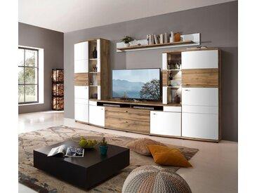 Wohnwand TERRA PLUS-TOP Weiß mit Eiche Altholz Nachbildung 324 cm