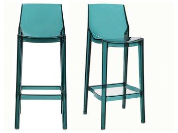 2er-Set Design-Barhocker durchsichtig Blau YLAK