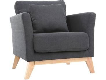Sessel skandinavisch Dunkelgrau Füße aus hellem Holz OSLO