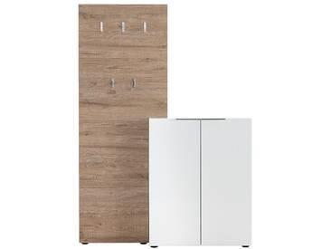 Eingangsmöbel Weiß lackiert mit Schrank und Garderoben-Regal HALL