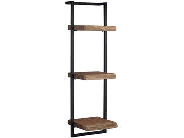 Wandregal aus massivem Holz und schwarzes Metall vertikal ERNEST