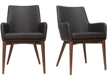 2er Set Sessel Vintage  PU Schwarz und Holz SHANA