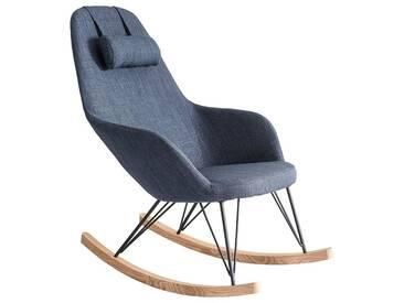 Relax-Sessel - Schaukelstuhl Stoff Graublau Füße Metall und Esche