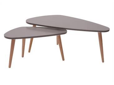 Design-Beistelltische Hellgrau und Naturholz ARTIK