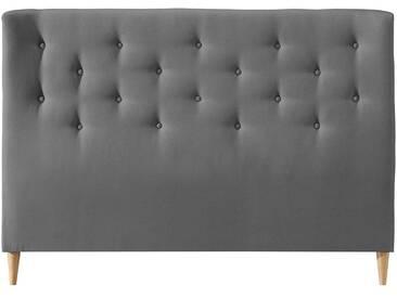 Bettkopfteil 140 gepolstert aus hellgrauem Stoff EROS