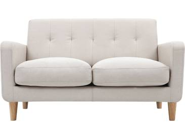 Design-Sofa skandinavisch naturfarbener Stoff 2-Sitzer LUNA