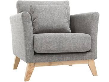 Sessel skandinavisch Hellgrau Füße aus hellem Holz OSLO