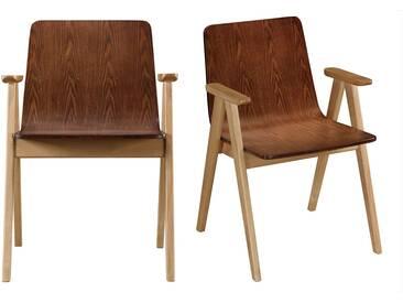 Design-Stühle Vintage-Look Eiche und Nussbaum 2er-Set DANA
