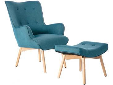 Design-Sessel skandinavisch und Fußablage Petrolblau und helles H