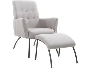 Sessel und Fußstütze zeitgenössisch Stoff Grau ULYSSE