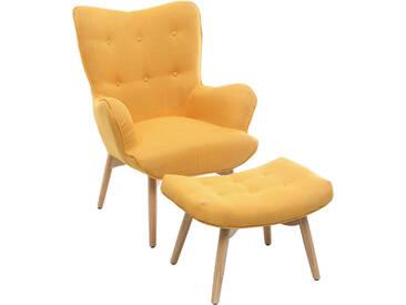 Design-Sessel skandinavisch und Fußablage Gelb und helles Holz BR