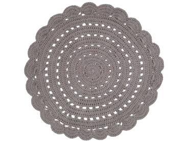 Teppich rund und gehäkelt dunkelgrau 120cm ALMA