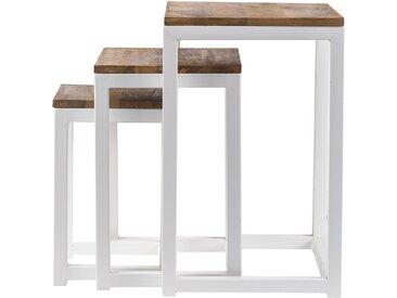 3er-Set Satztische ROCHELLE weißes Holz und Metall
