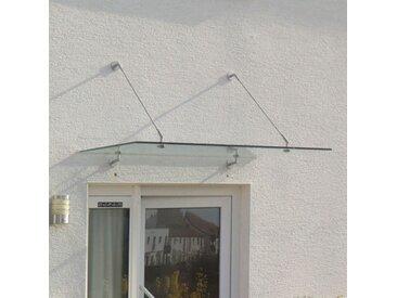 Echtglasvordach Edelstahlhalter rund 150 x 80 cm Haustürvordach