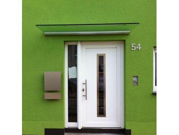 Echtglas Vordach trägerlos 160 x 80 cm Haustür Wandleiste