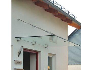 Echtglasvordach Edelstahlhalter rund 200 x 80 cm Haustürvordach