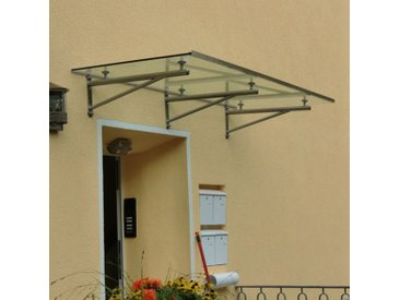 Glasvordach Edelstahl-Rohrträger 180 x 90 cm Haustürvordach