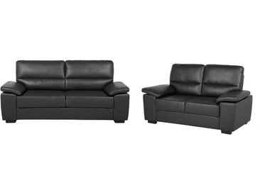 Sofa Set Kunstleder schwarz VOGAR