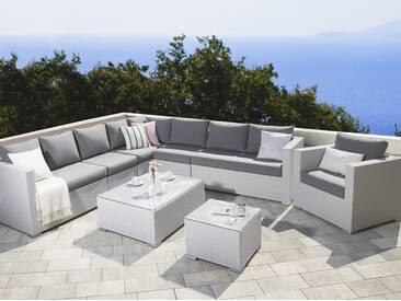 Lounge Set Rattan Weiss 8 Sitzer Auflagen Grau XXL