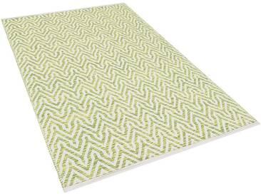 Teppich grün-beige 80 x 150 cm Kurzflor MALKARA