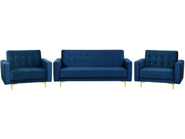 Sofa Set Samtstoff marineblau ABERDEEN